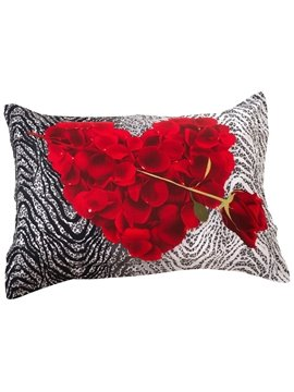 New Arrival Romantic Heart Shape Made By Rose Petals Two Pieces Pillow Case