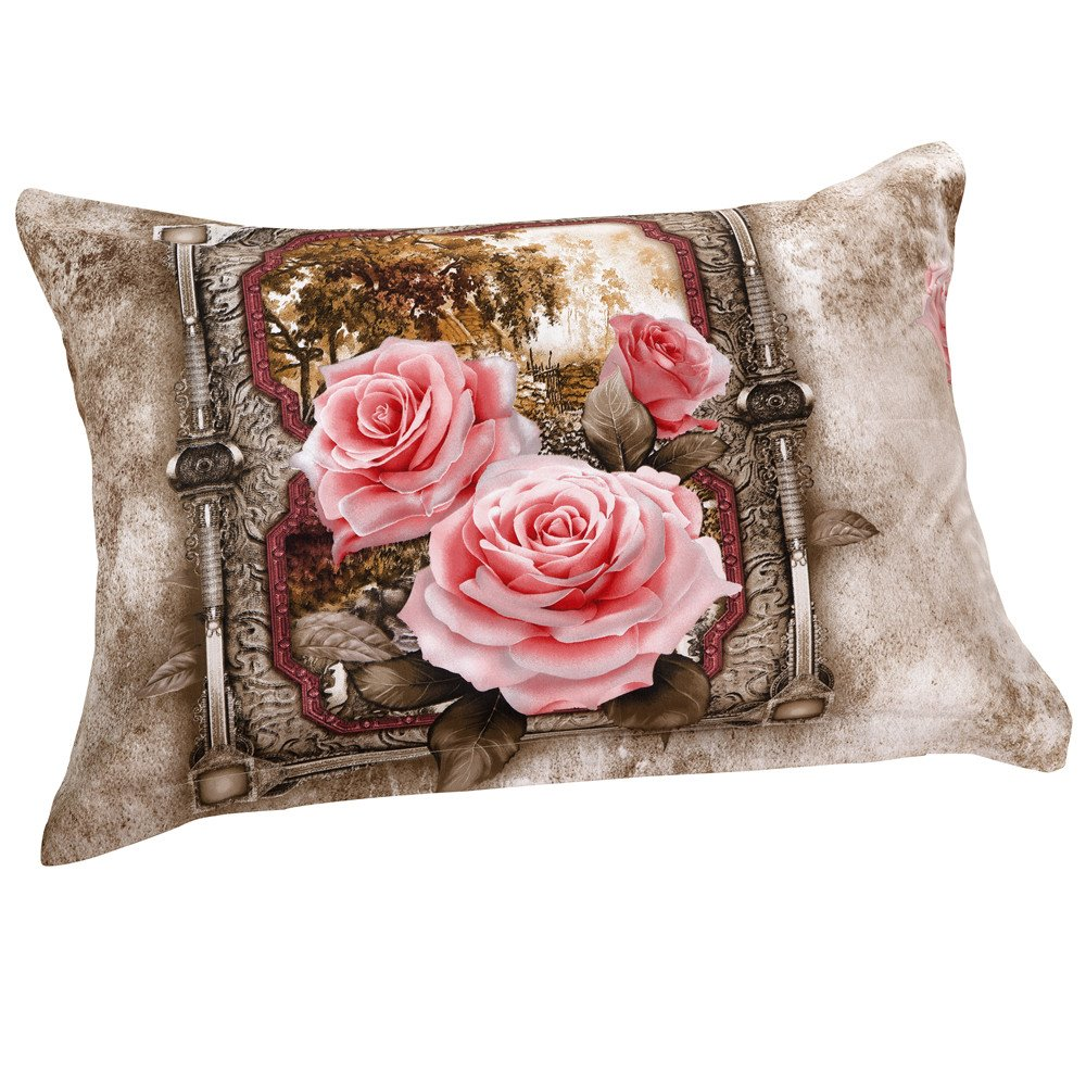 New Arrival Delicate Blooming Pink Flowers Two Pieces Pillow Case