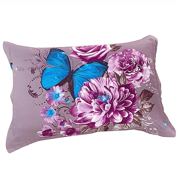 New Arrival Butterfly on Delicate Purple Flowers Two Pieces Pillow Case