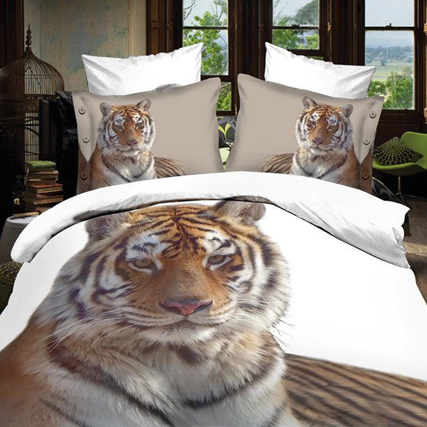 Popular Golden Tiger Print 4-Piece Polyester 3D Duvet Cover Sets