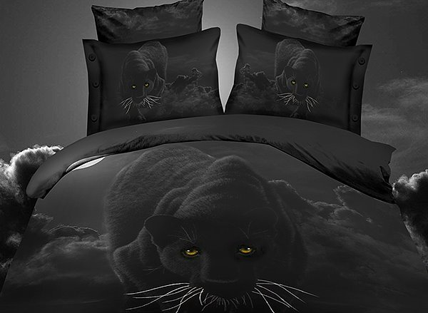 Personality Panther Print 4-Piece Polyester 3D Duvet Cover Sets