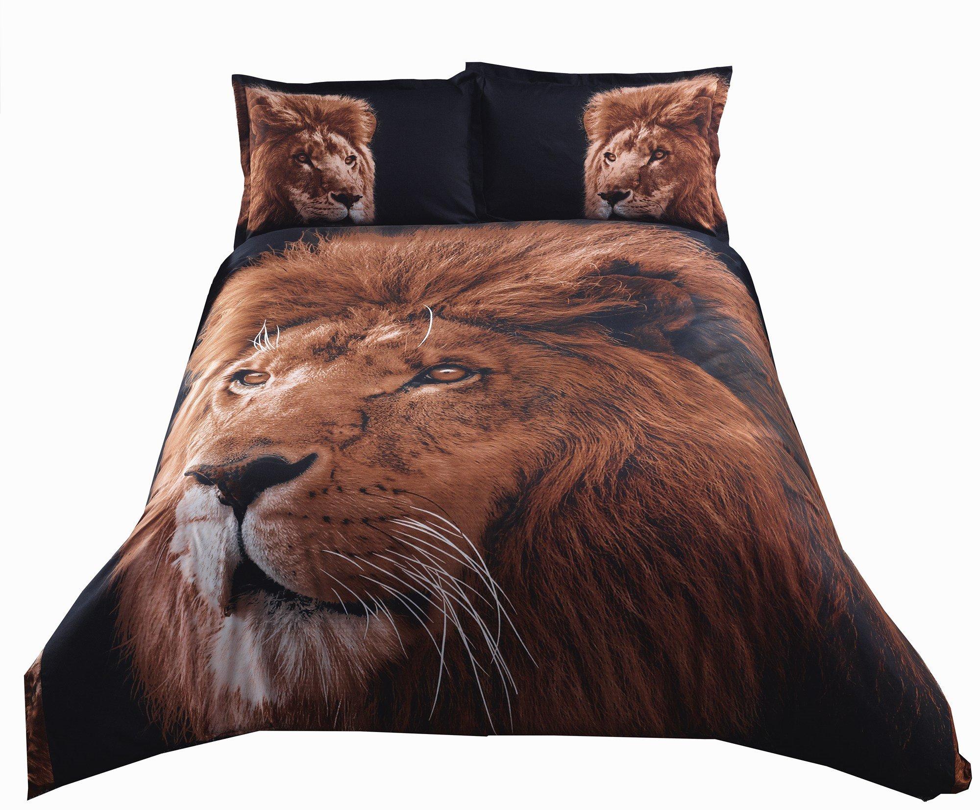 Inspiring Lion with Black Background Print 4-Piece Polyester 3D Duvet Cover Sets