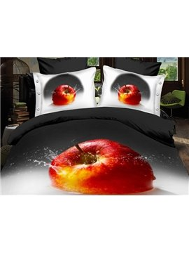Fresh Color Red Apple in Water Print 4-Piece Polyester 3D Duvet Cover Sets