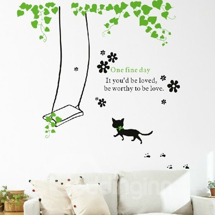 New Arrival Beautiful Vine Swing and Cute Cat Wall Stickers