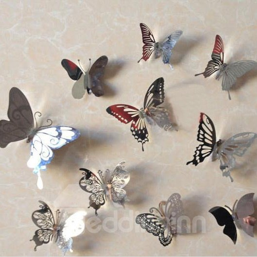 Pretty Stainless Steel Butterflies Shape 10-pieces Decorative Wall Stickers