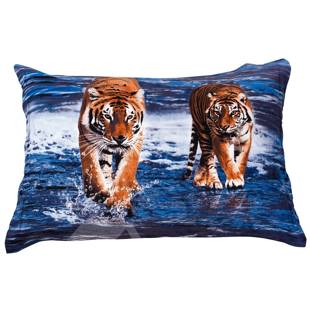 Two Ferocious Tigers in Water Pattern Pillowcase