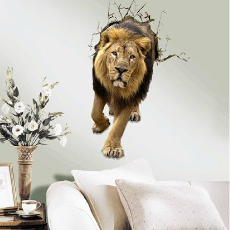 Verisimilar Amazing Decorative Lion Pattern 3D Wall Sticker