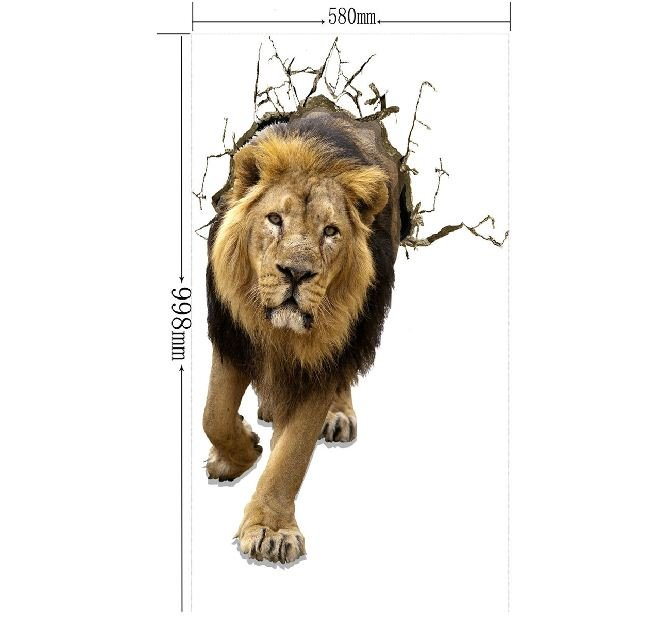 Verisimilar Amazing Decorative Walking Lion Pattern 3D Wall Sticker