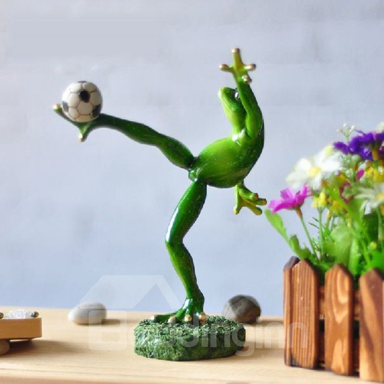 Cute Creative Frog Kicking the Football Design Ornament