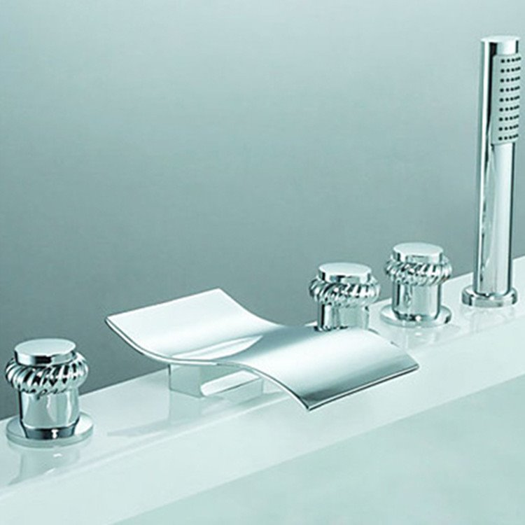 Contemporary Chrome Finish Two Handles Waterfall Bathub Faucet