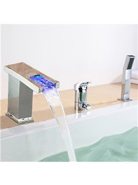 Contemporary Chrome Finish Multi-color LED Widespread Bathub Faucet