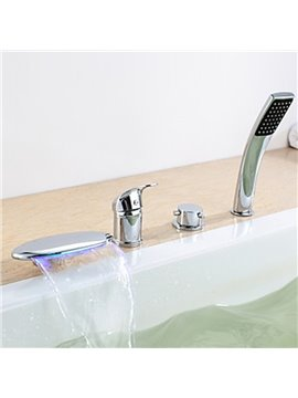 Contemporary Chrome Finish Three Handles LED Bathtub Faucet