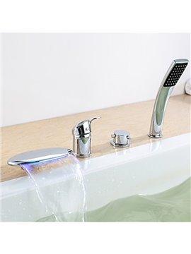 Contemporary Chrome Finish Three Handles LED Bathtub Faucet