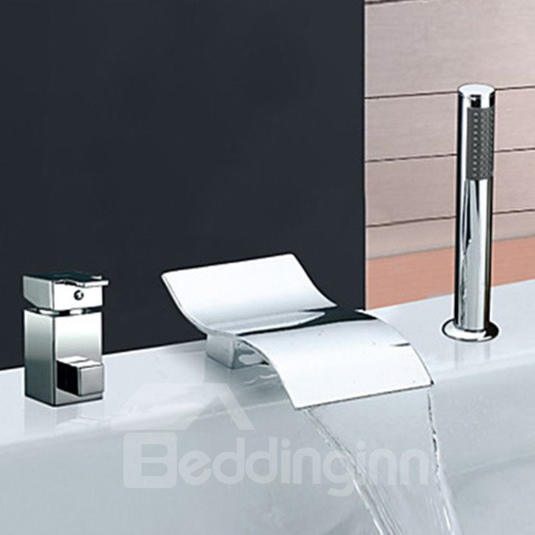 Contemporary Two Handles S Shaped Bathtub Faucet