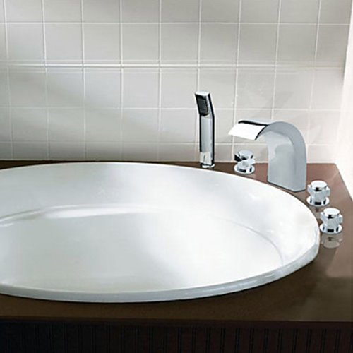Chrome Finish Widespread Stainless Steel Contemporary Style Bathtub Faucets