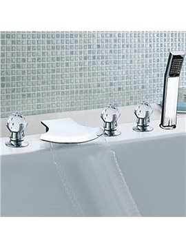 Contemporary Chrome Finish Three Handles Waterfall Semicircle Shaped Bathtub Faucet