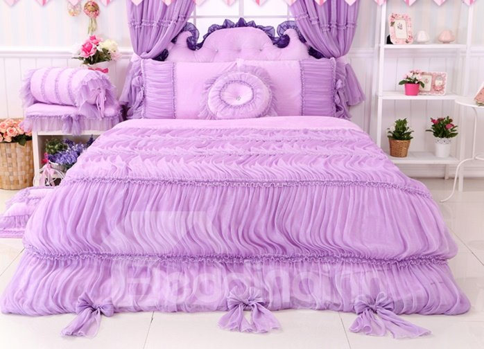 Bowknot Lace Edging Cotton Princess 4-Piece Full Size Purple Bedding Sets