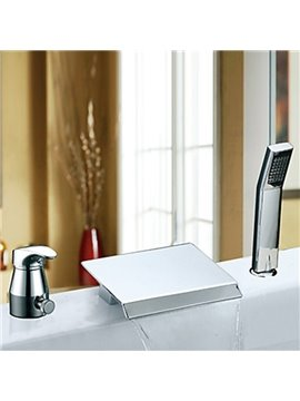 Widespread Contemporary Style Two Handles Waterfall Chrome Finish Tub Faucet