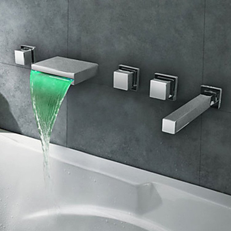 Chrome Finish Stainless Steel Spout LED Thermochromic Waterfall Bathroom Tub Faucet