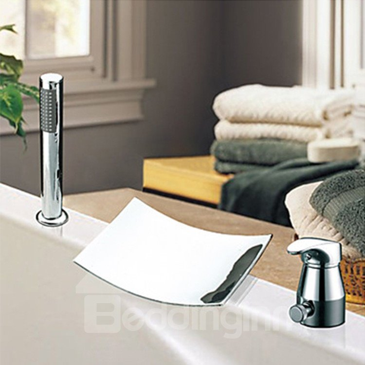 Contemporary Widespread Two Handles Waterfall Chrome Finish Tile Shaped Tub Faucet
