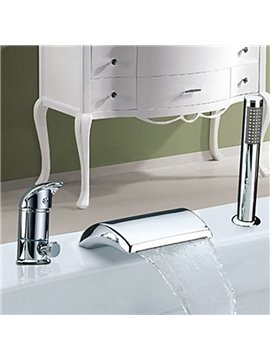 Widespread Chrome Finish Waterfall Two Handles With Handshower Bathtub Faucet