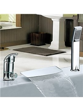 Simple Style Widespread Chrome Finish Waterfall With Handshower Tub Faucet