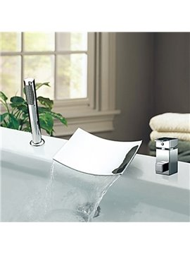 Modern Style Chrome Finish Widespread Bathtub Faucet