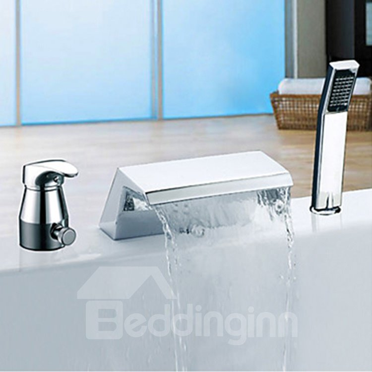 Amazing Two Handles Chrome Finish Widespread Waterfall Tub Faucet