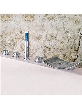 Contemporary Chrome Finished Two Handles Waterfall Widespread Bathtub Faucet