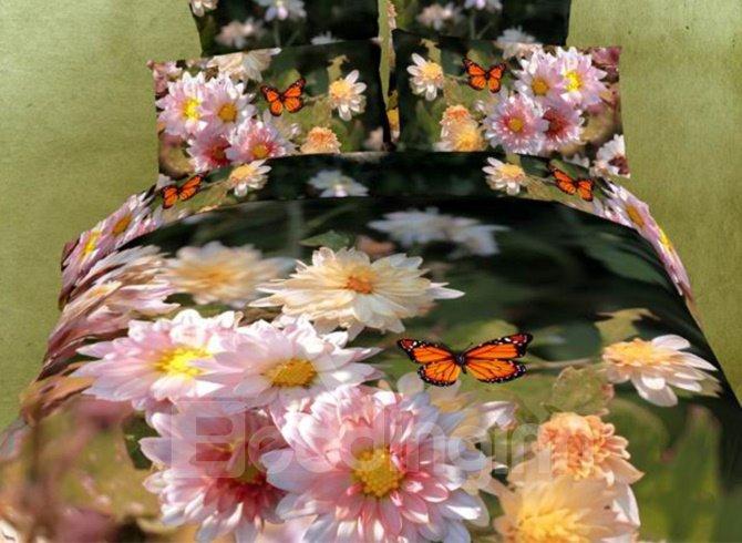 Charming Flowers and Butterflies Print 3D Duvet Cover Sets