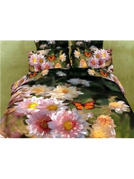 Charming Flowers and Butterflies Print 3D Duvet Cover Sets