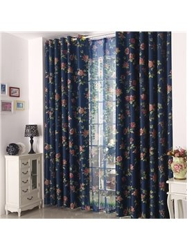 High Quality Elegant Dark Blue Floral Grommet Top Custom Curtain