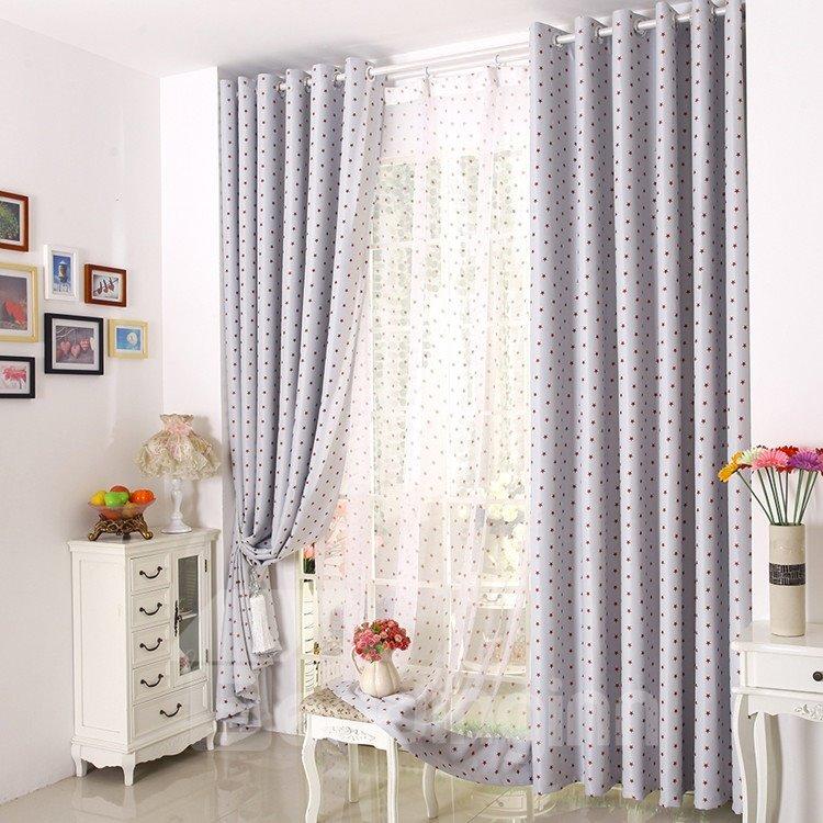 Contemporary Elegant Beautiful Red Stars Grommet Top Custom Curtain