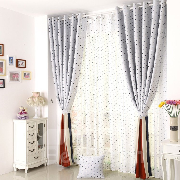 Elegant Beautiful Blue Stars Grommet Top Custom Curtain