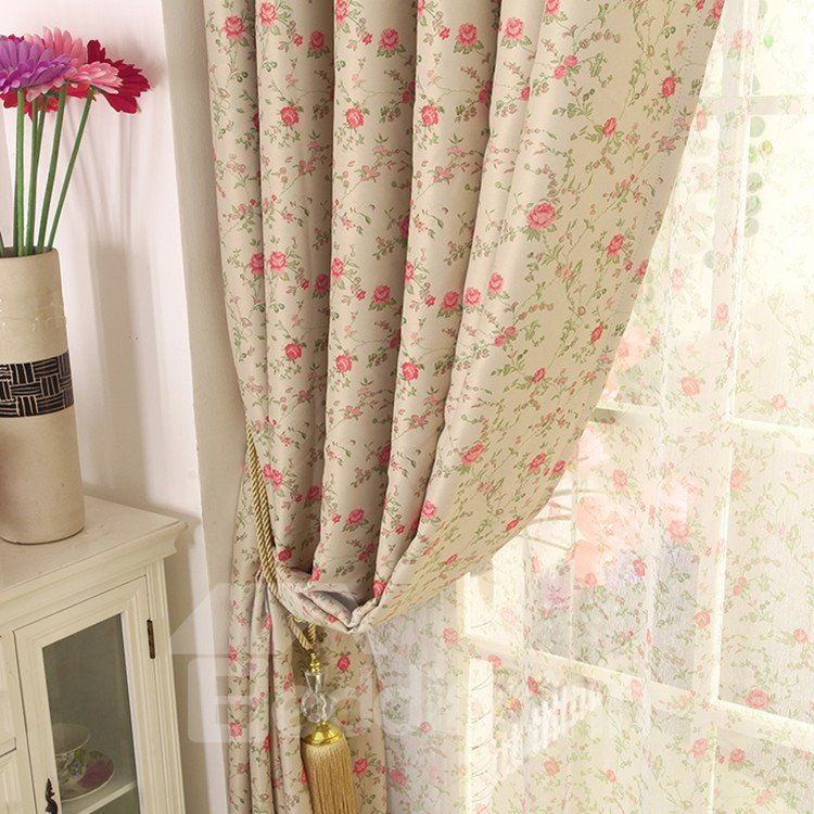 Elegant Red Floral Grommet Top Custom Curtain