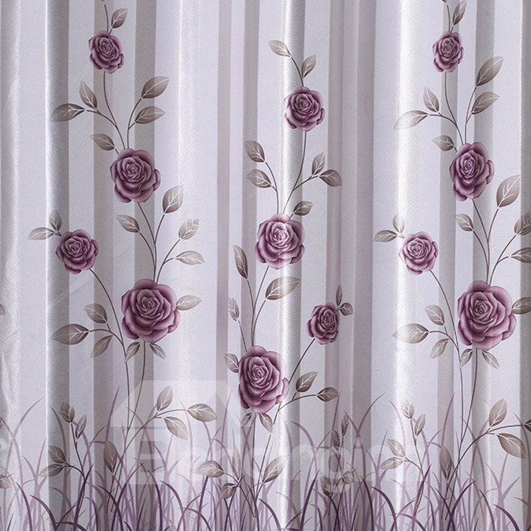 Beautiful Floral Pattern Grommet Top Curtain