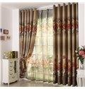 Elegant Beautiful Big Roses Print Grommet Top Custom Curtain