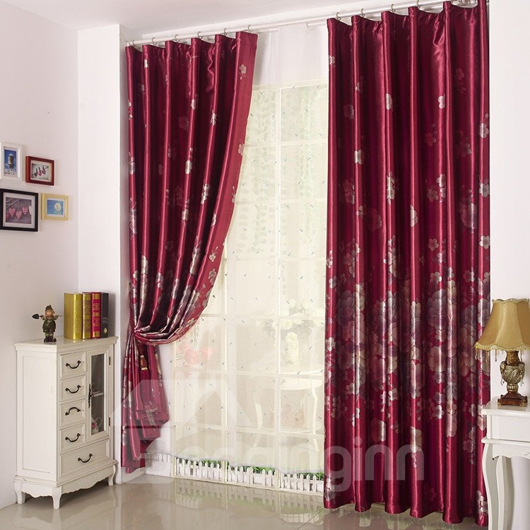 Amazing Red Peony Pattern Grommet Top Curtain