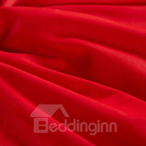 Brilliant Red Flower Pattern 100% Cotton 4-Piece Duvet Cover Sets