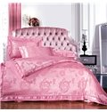 Fancy Pink Roses Print Satin Jacquard Soft Cotton 4-Piece Duvet Cover Sets
