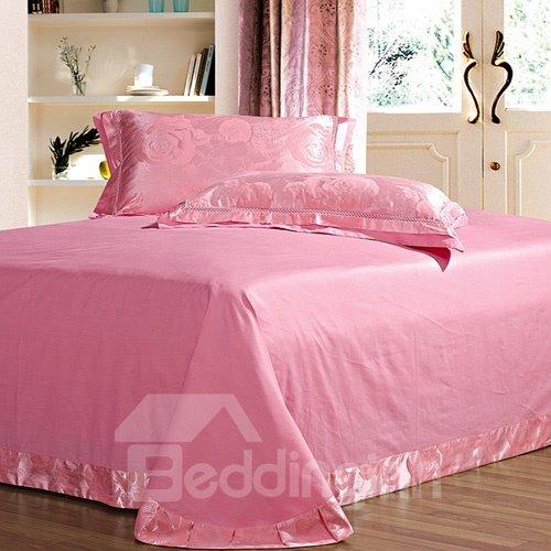 Fancy Pink Roses Print Satin Jacquard Soft Cotton 4-Piece Duvet Cover Sets