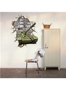 Unique Design Amazing Tank Through Hole 3D Wall Sticker
