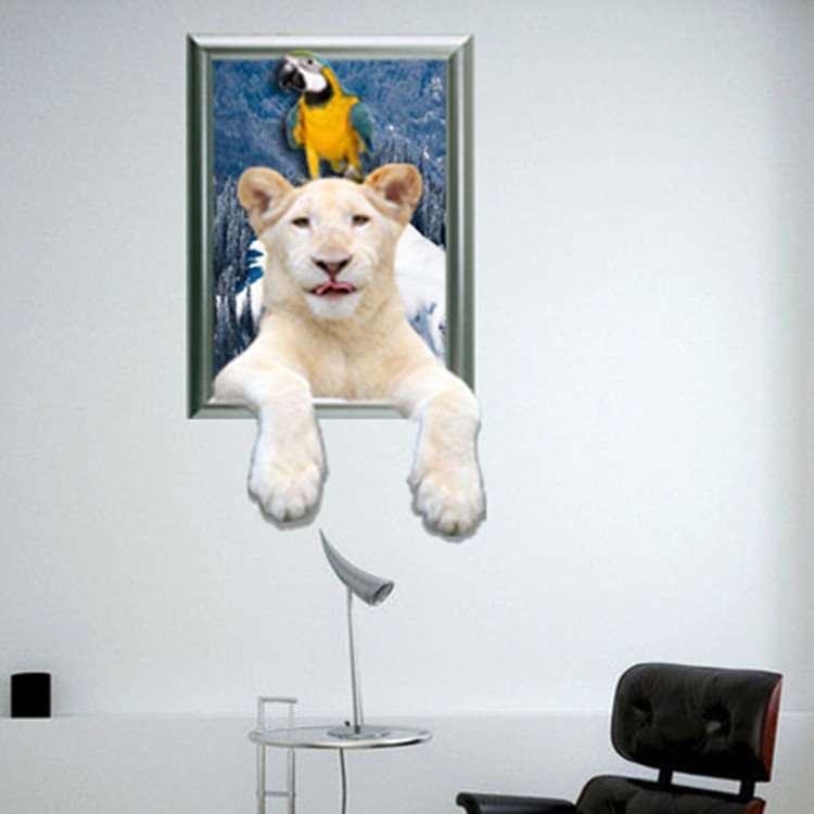 Amazing Pure White Tiger and Parrot Pattern 3D Wall Sticker