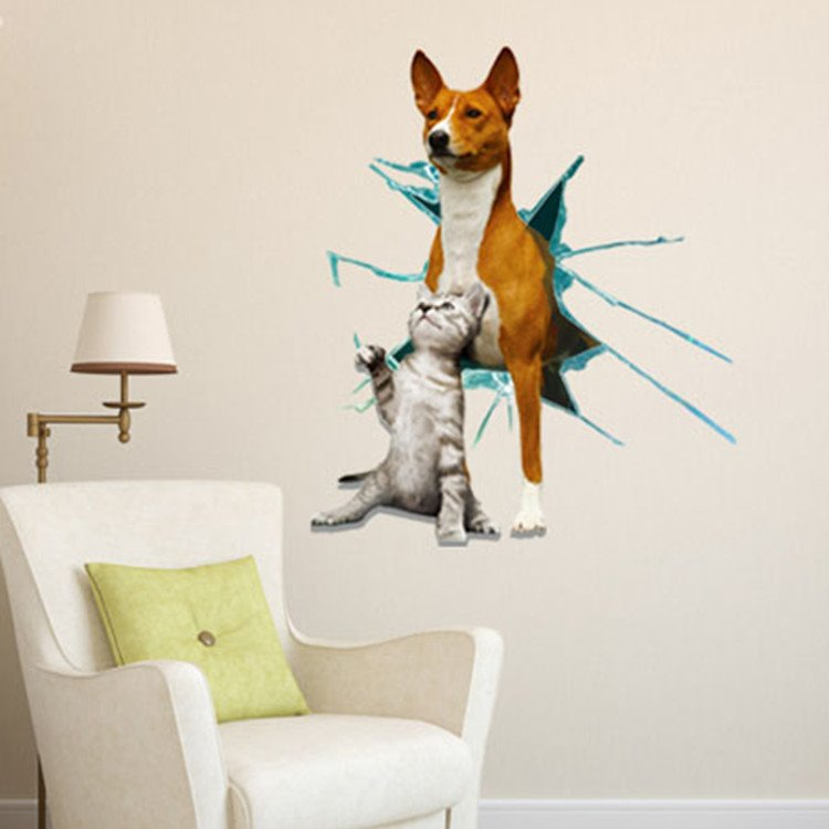 Cute Cat and Dog in Hole Pattern Decorative 3D Wall Sticker