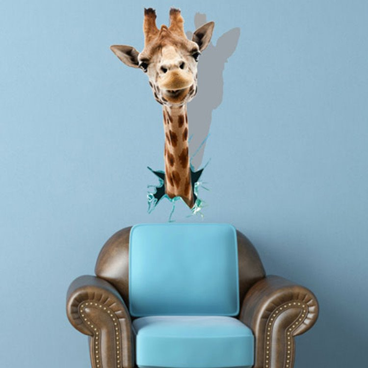 Lovely and Lifelike 3D Giraffe Pattern Decorative Wall Sticker