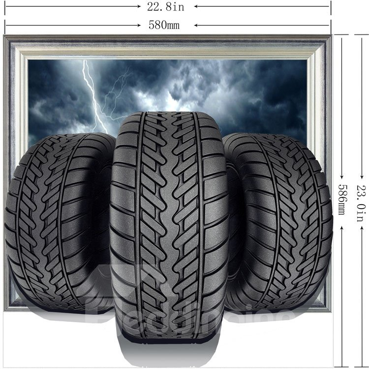 Amazing Creative Tires Pattern Home Decorative 3D Wall Sticker
