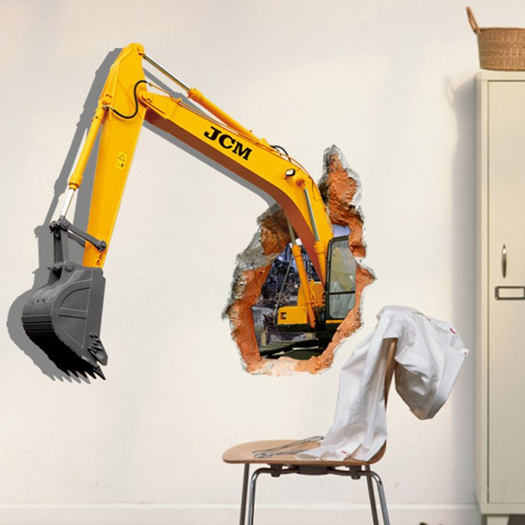 Stunning Creative 3D Excavator Wall Sticker