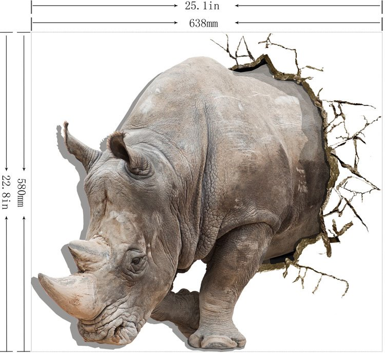 Alluring Creative 3D Rhino Wall Sticker