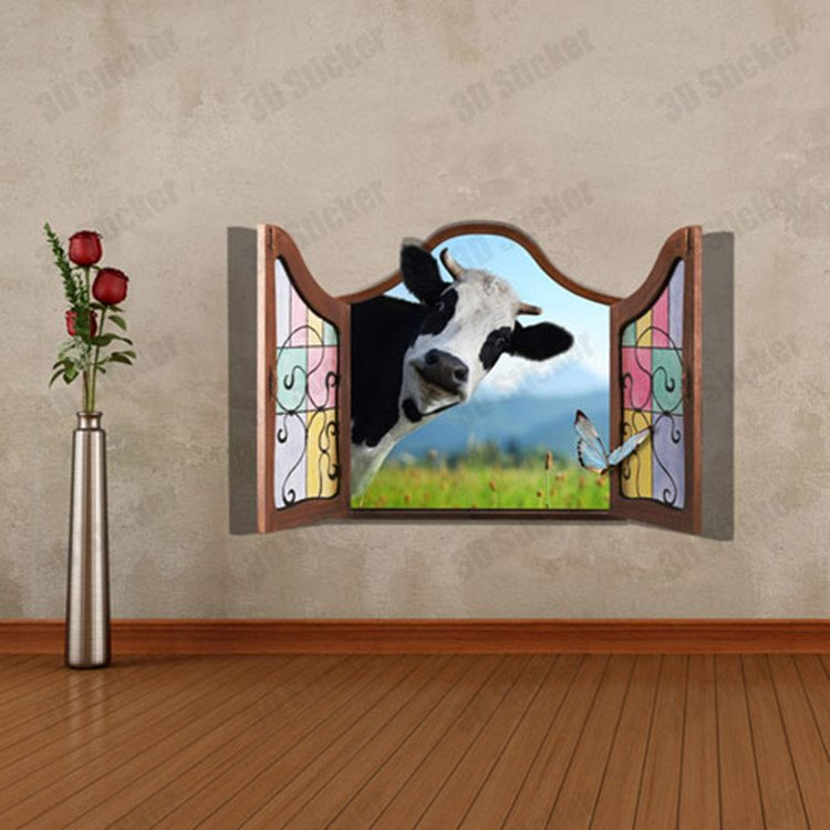 Amazing Style Window Scenery and Cute Cow Pattern 3D Wall Sticker