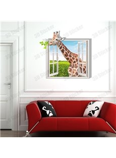 Alluring Style Creative 3D Giraffe Outside the Window Wall Sticker